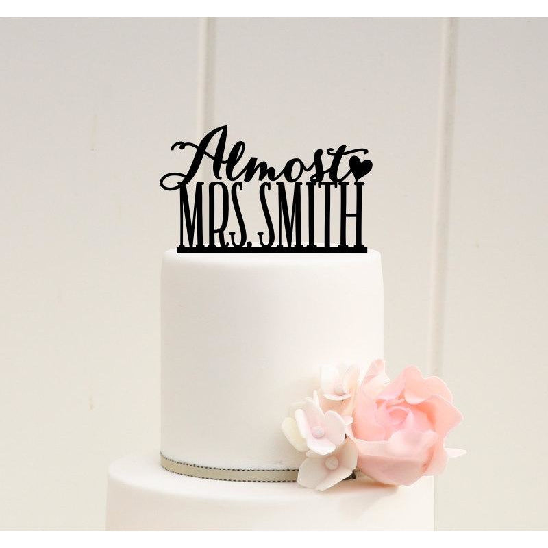 Wedding Shower Bridal Shower Cake Topper Almost Mrs Design with YOUR Last Name