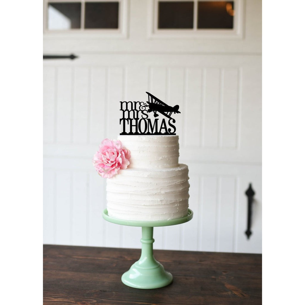 Wedding Cake Topper - Airplane Wedding Cake Topper - Biplane Cake Topper