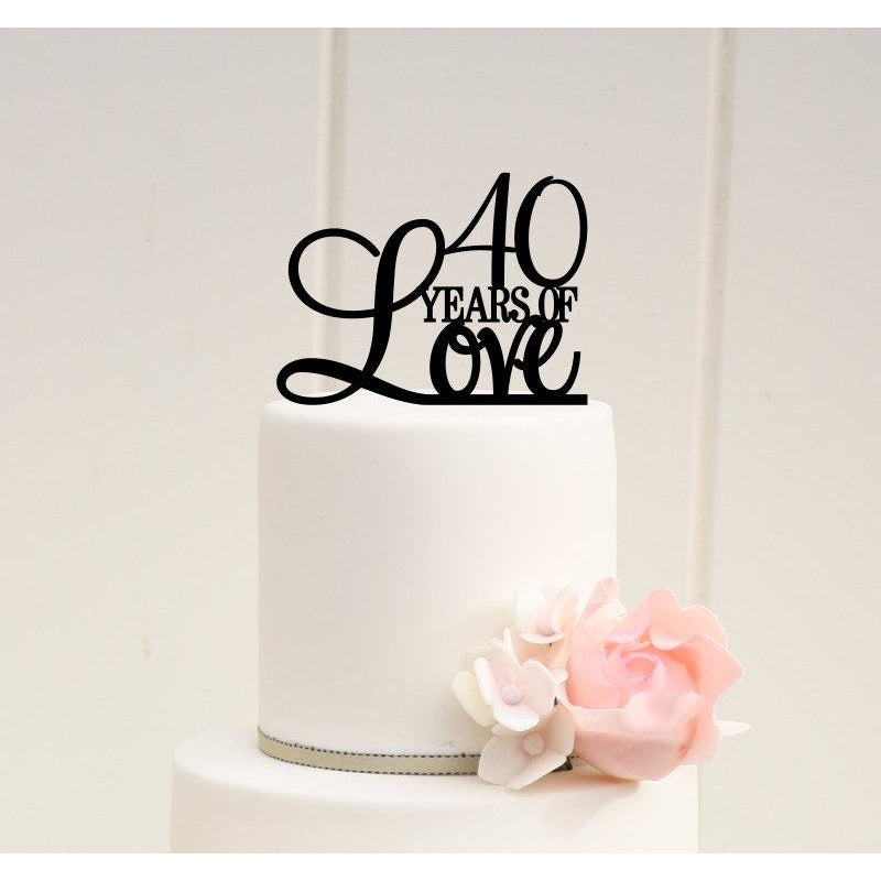 40th Anniversary Cake Topper - 40th Birthday Cake Topper - 40 Years of Love Topper