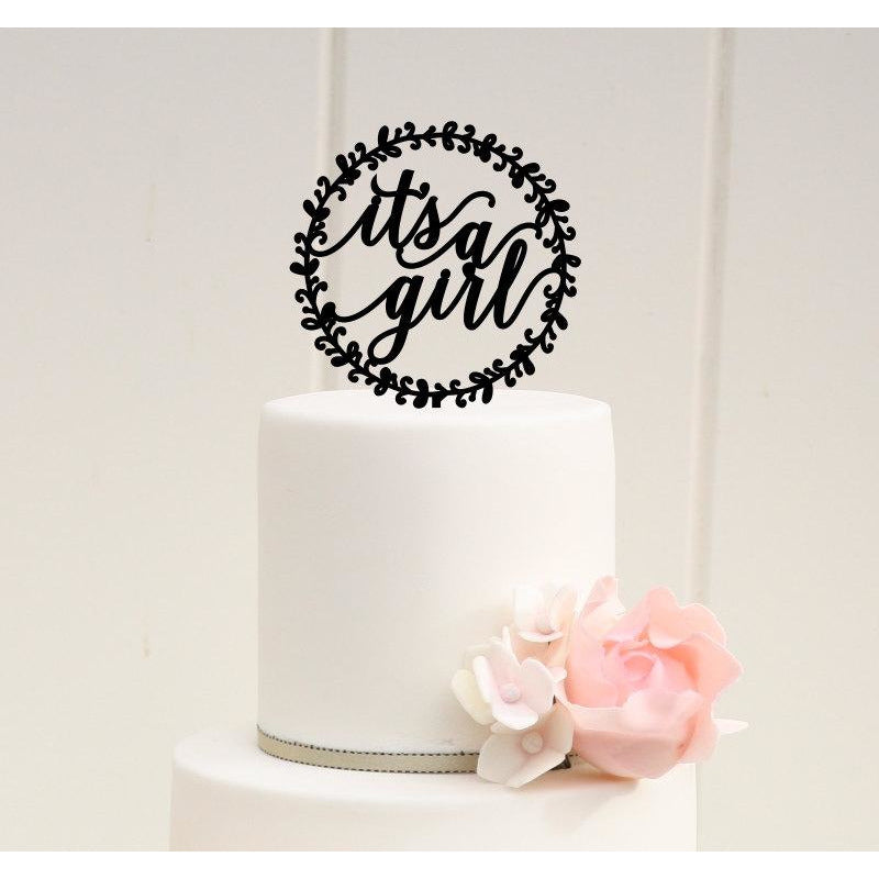 It's a Girl Baby Shower Cake Topper with Floral Frame - Gender Reveal Cake Topper