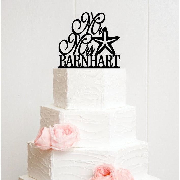 Mr and Mrs Starfish Wedding Cake Topper with YOUR Last Name Beach Nautical Wedding Cake Topper