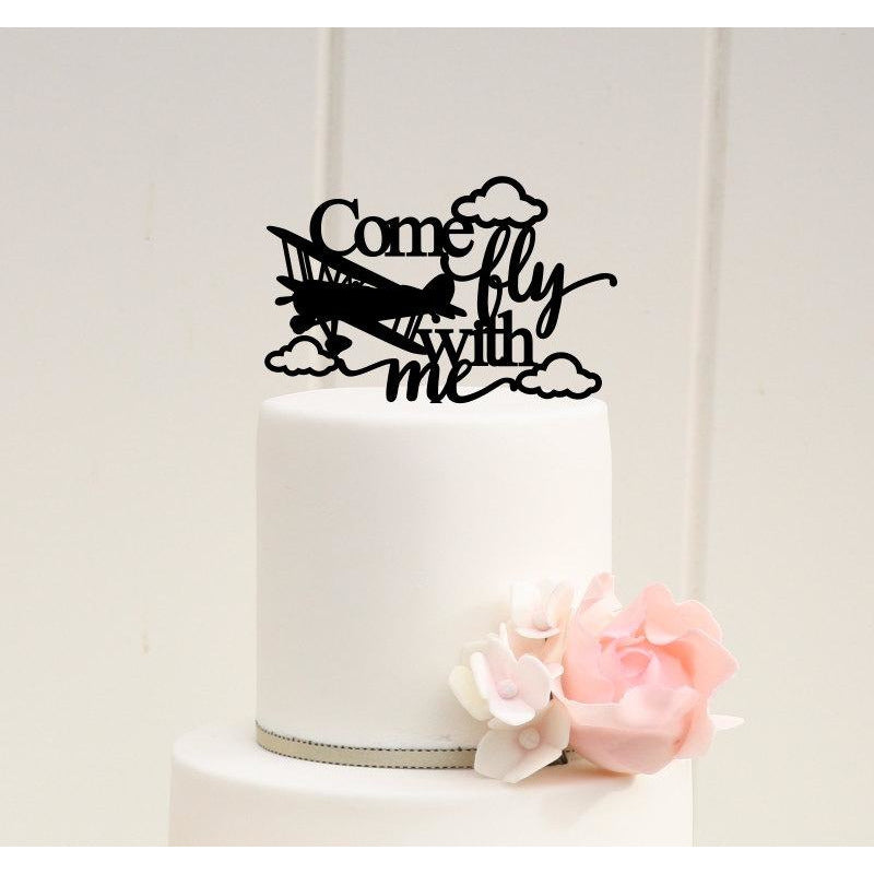 Airplane Wedding Cake Topper Biplane Come Fly With Me Cake Topper