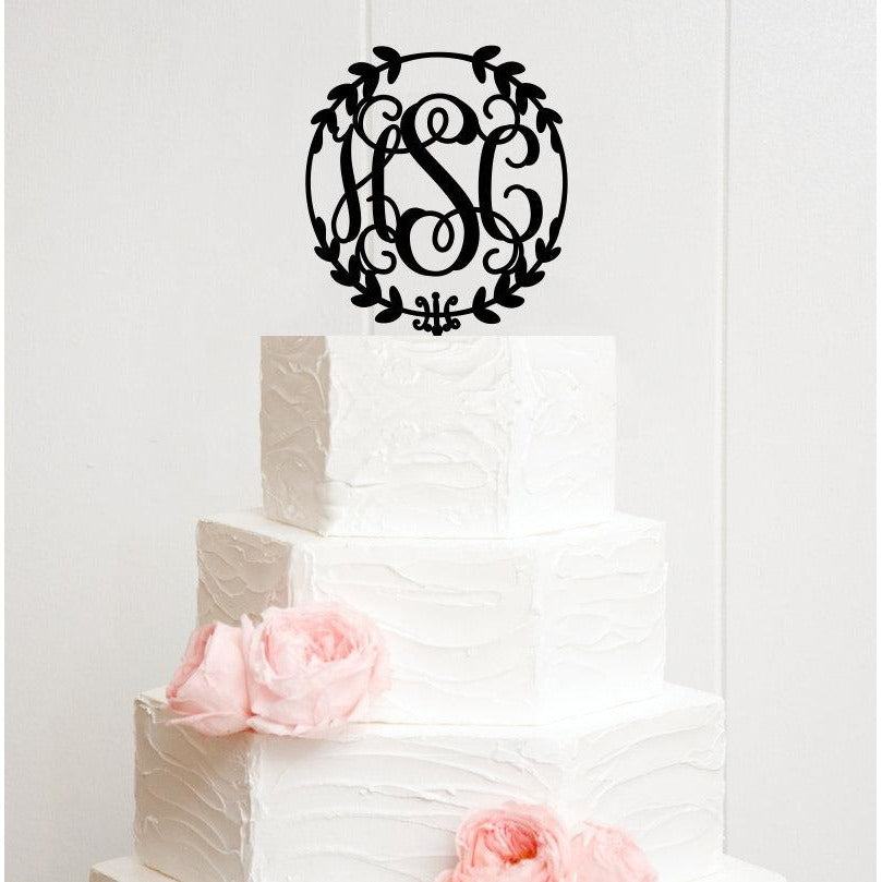 Wedding Cake Topper Circle Vine Monogram Personalized Topper with YOUR Initials