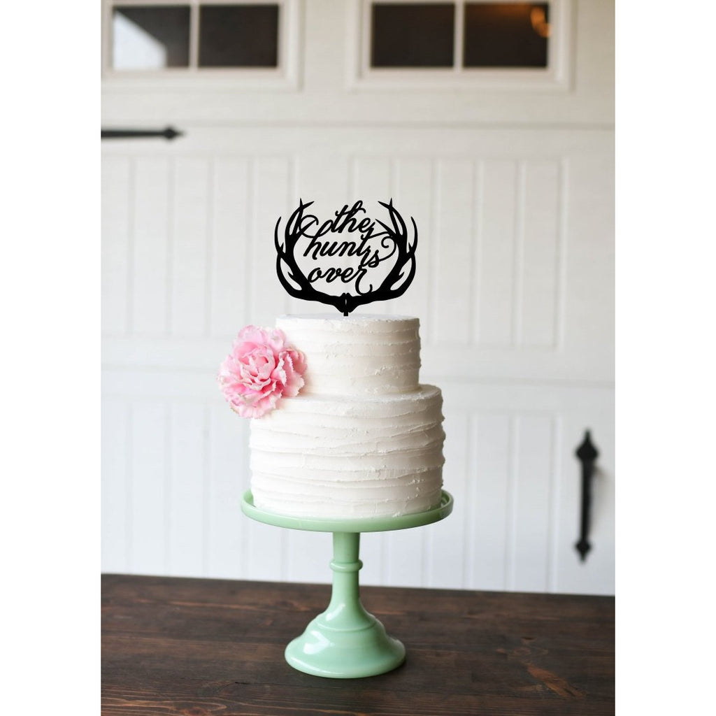The Hunt is Over Deer Antlers Wedding Cake Topper - Custom Cake Topper