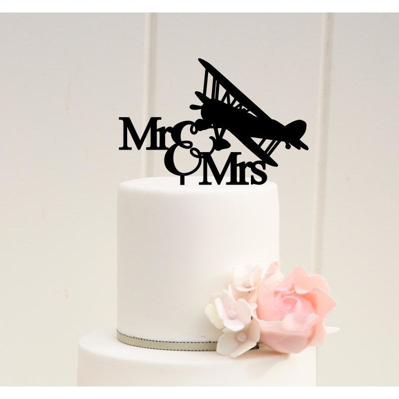 Airplane Wedding Cake Topper Mr and Mrs Biplane Cake Topper