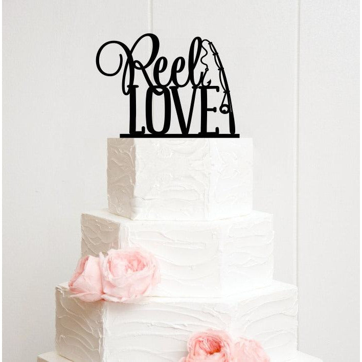 Reel Love Fishing Wedding Cake Topper - Custom Cake Topper
