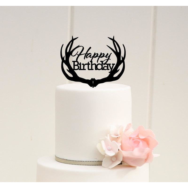 Happy Birthday with Deer Antlers Birthday Cake Topper - Hunting Birthday Cake Topper