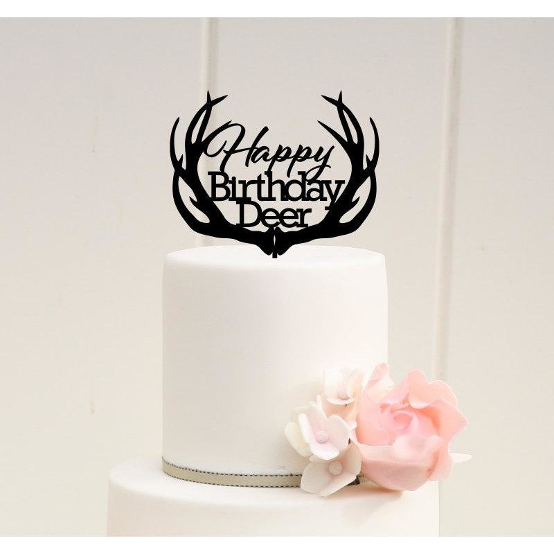 Happy Birthday Deer Antler Cake Topper - Hunting Birthday Cake Topper