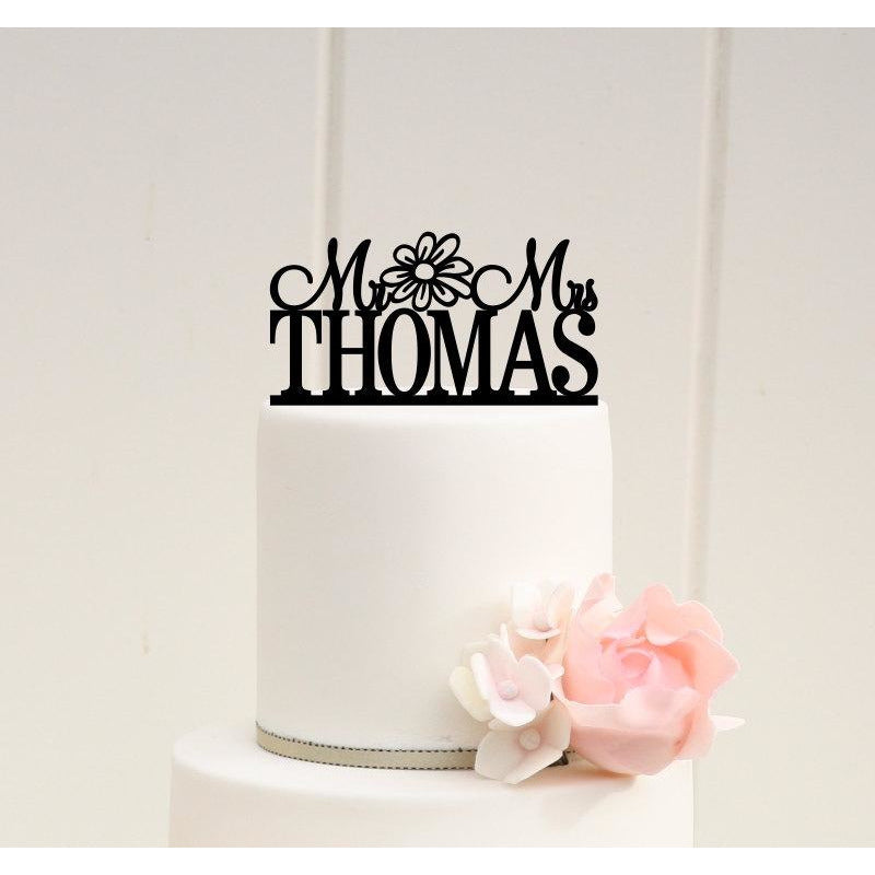 Personalized Mr and Mrs Wedding Cake Topper with Daisy Design and YOUR Last Name