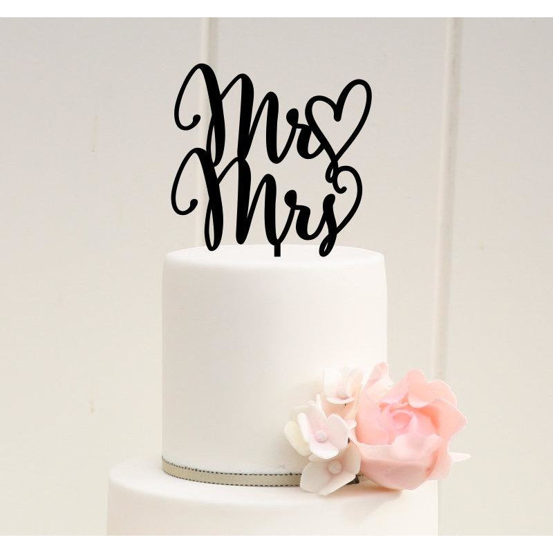 Mr and Mrs Wedding Cake Topper with Heart - Custom Cake Topper