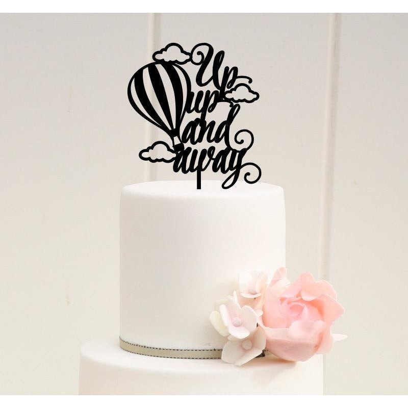Up Up and Away Baby Shower or Party Cake Topper - Hot Air Balloon Cake Topper