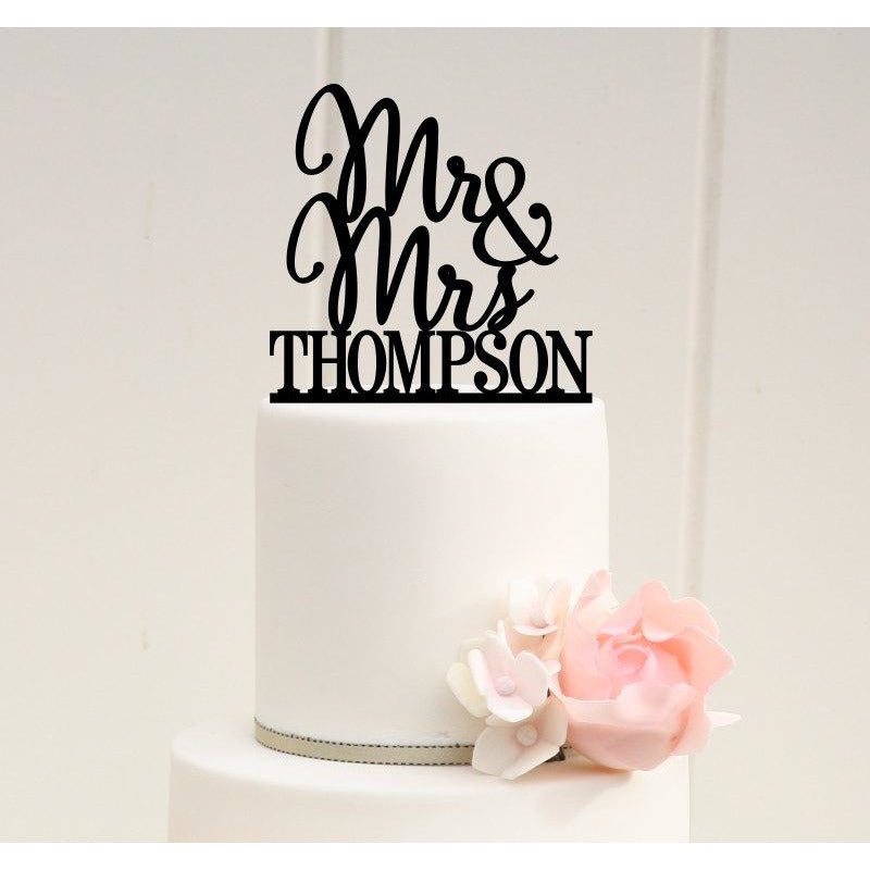 Mr and Mrs Wedding Cake Topper Stacked Design with YOUR Last Name - PERFECT for Long Last Names!!