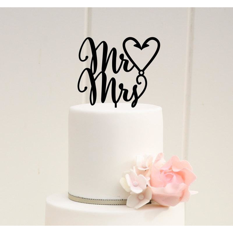 Mr & Mrs Fishing Hook Heart Wedding Cake Topper - Custom Cake Topper