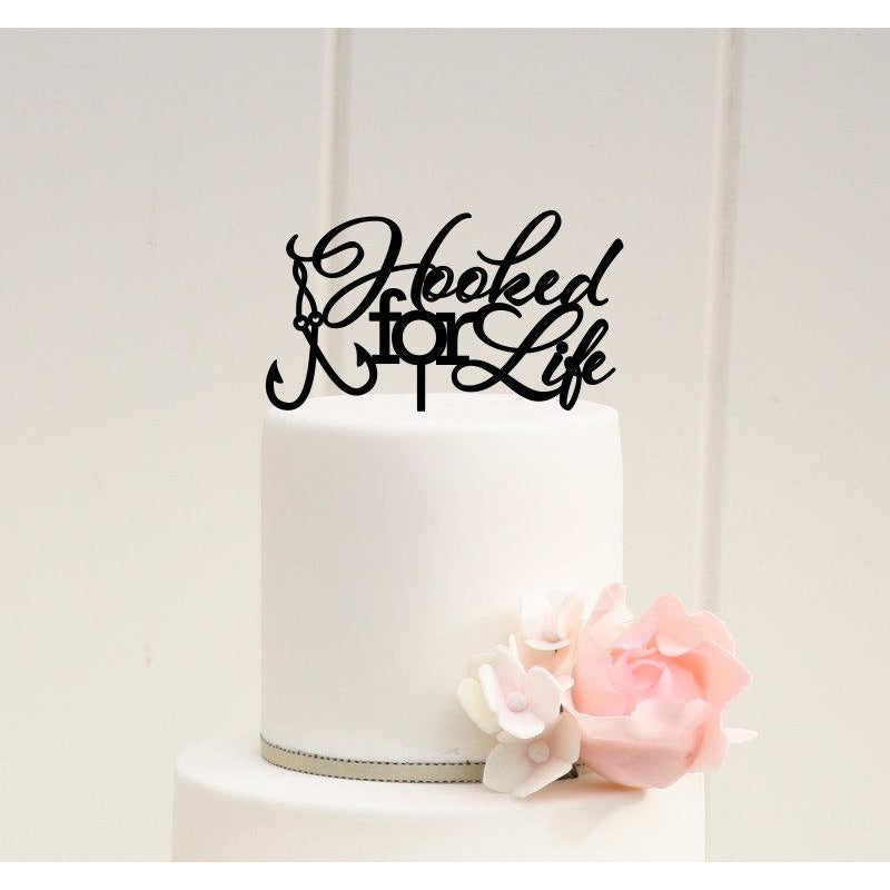 Hooked For Life Fishing Wedding Cake Topper - Custom Cake Topper