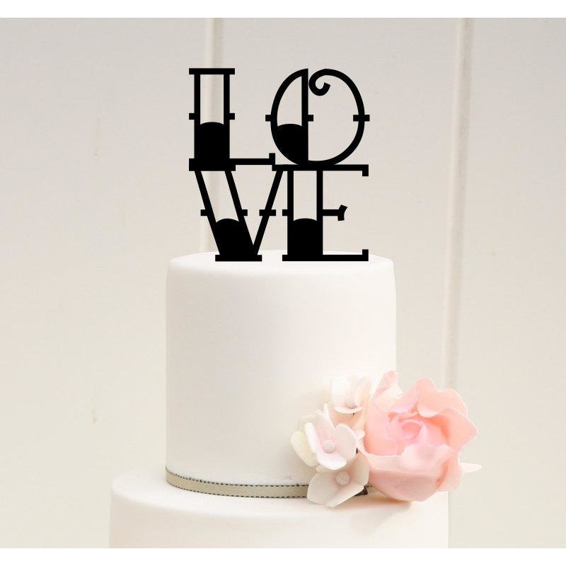 Tattoo Style LOVE Wedding Cake Topper Custom Design