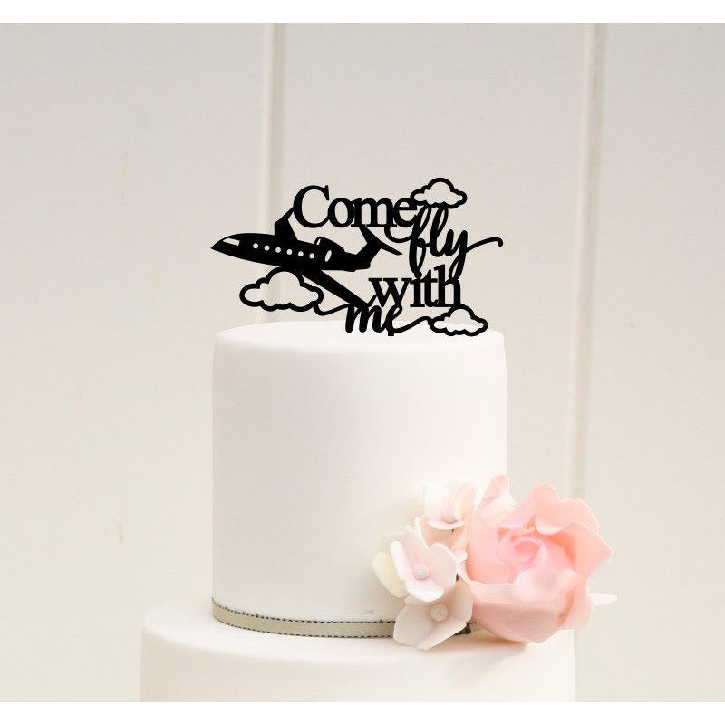 Airplane Wedding Cake Topper - Come Fly With Me Cake Topper - Pilot Cake Topper