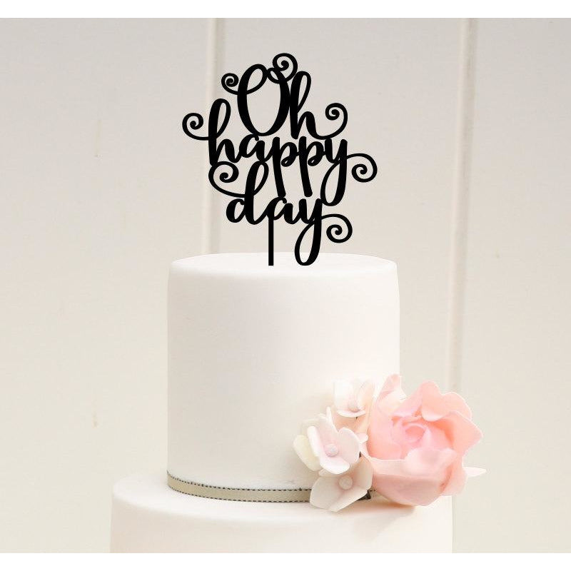 Wedding Cake Topper - Oh Happy Day Wedding Cake Topper