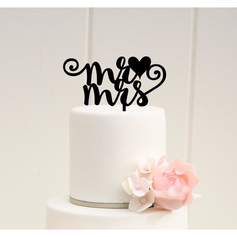 Mr and Mrs with Heart Wedding Cake Topper - Custom Cake Topper