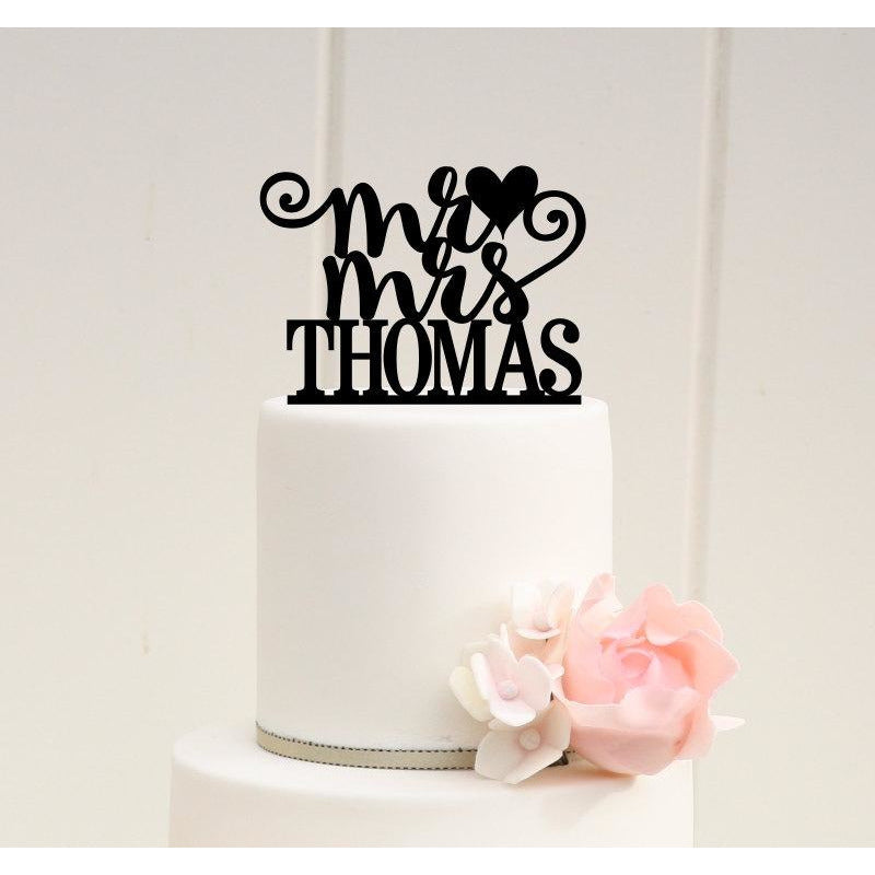 Personalized Mr and Mrs Heart Wedding Cake Topper with YOUR Last Name