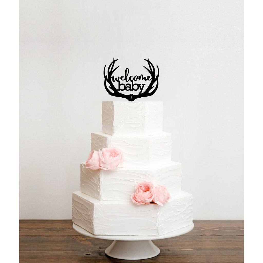 Welcome Baby with Deer Antlers Baby Shower Cake Topper