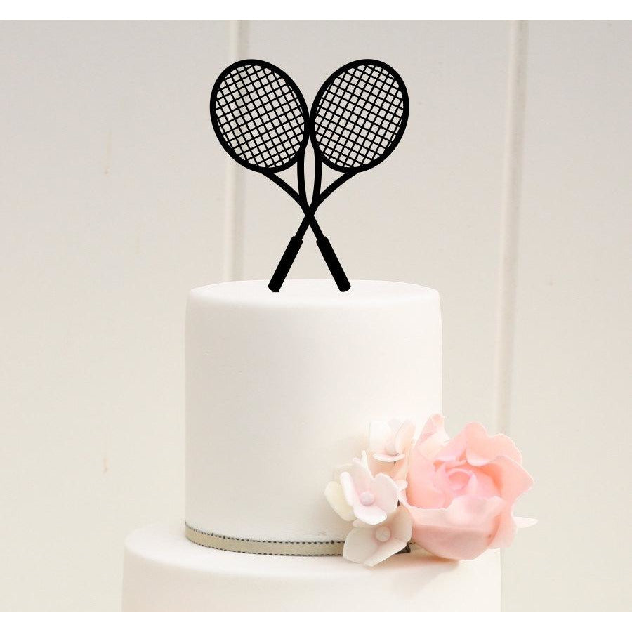 Crossed Tennis Rackets Tennis Birthday or Wedding Cake Topper - Tennis Racquet Cake Topper