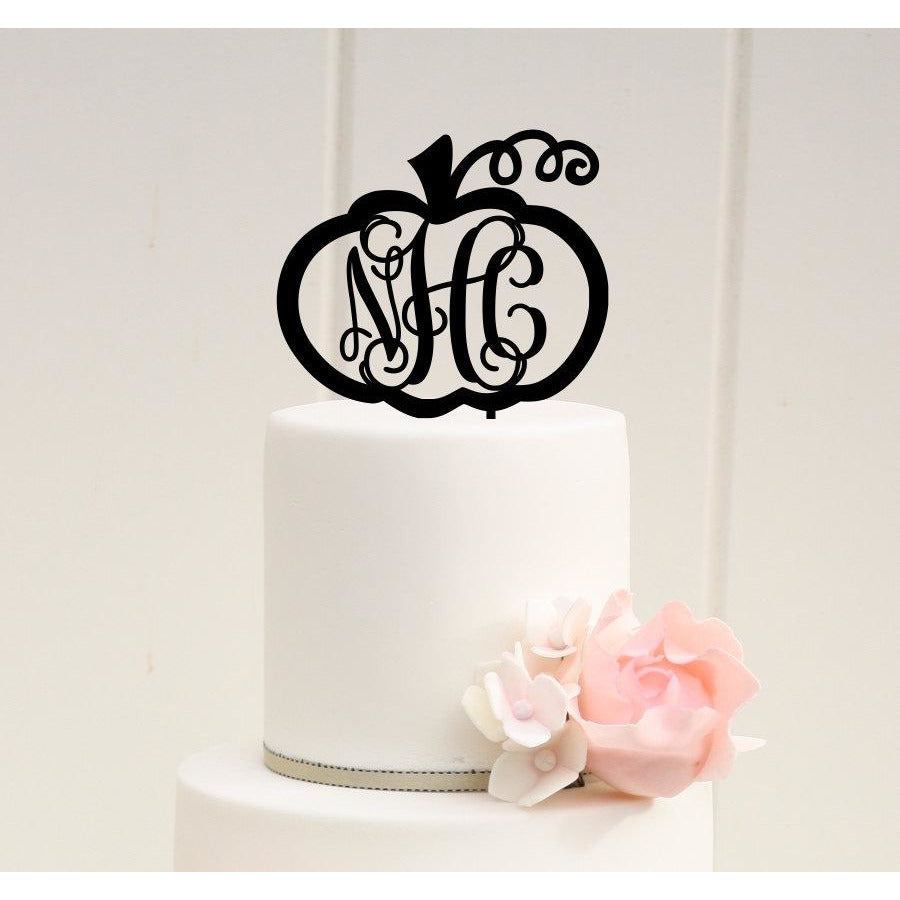 Wedding Cake Topper - Fall Wedding Cake Topper - Pumpkin Cake Topper - Vine Monogram Cake Topper