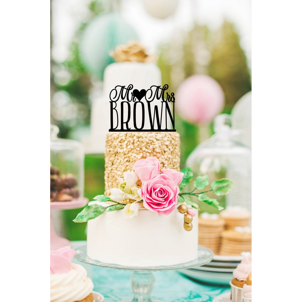 Mr & Mrs Wedding Cake Topper with YOUR Last Name - Bridal Shower Topper