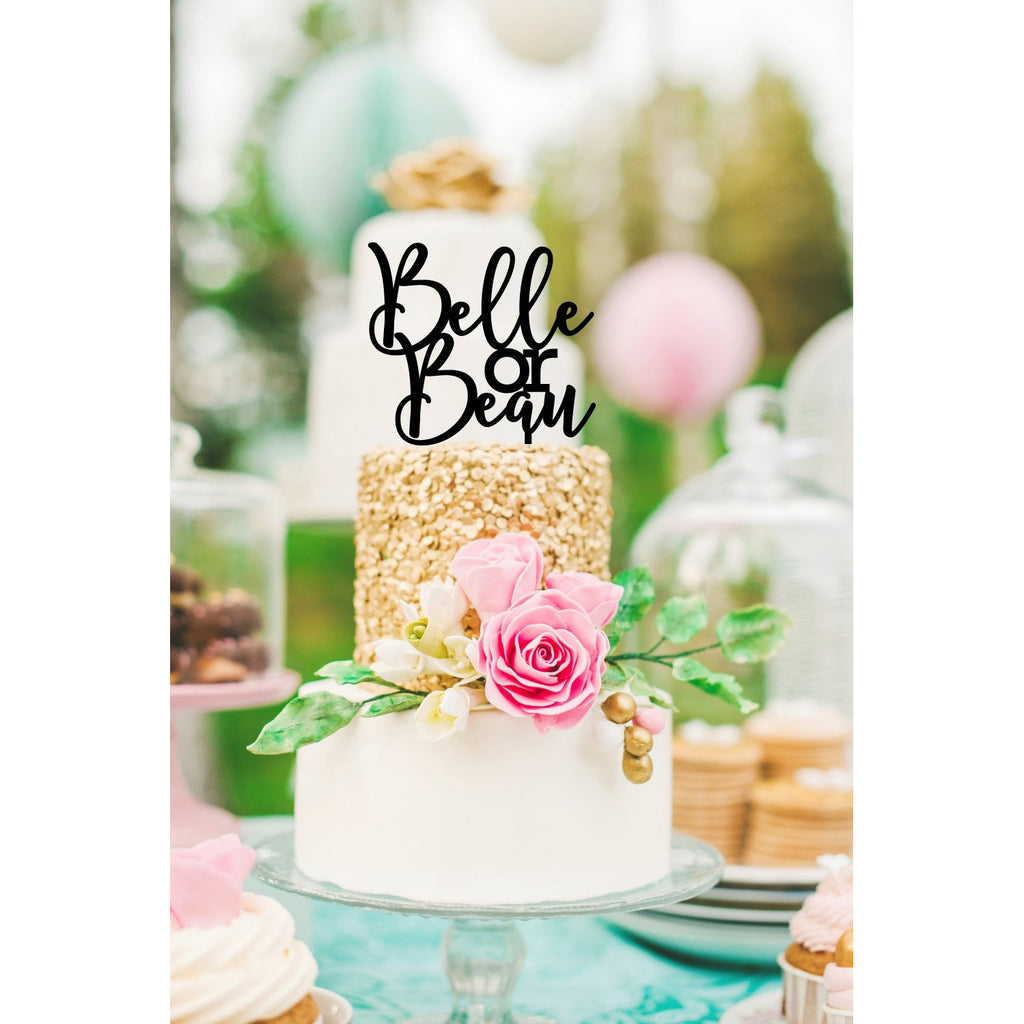 Belle or Beau Baby Shower Cake Topper - Gender Reveal Cake Topper