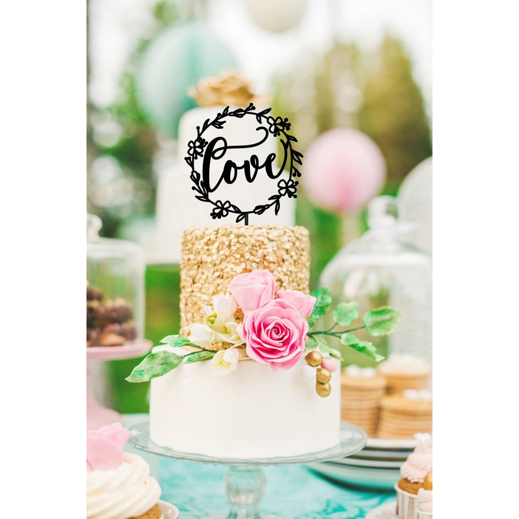 Love Cake Topper -  Floral Frame Wedding Cake Topper