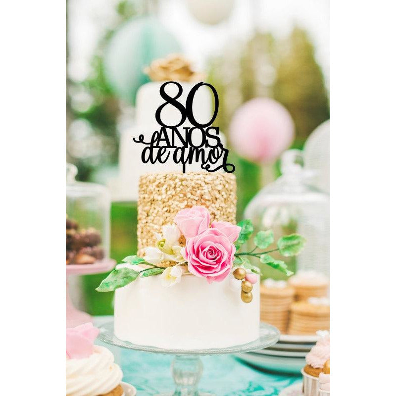 Sensational 80Th Birthday Cake Topper 80 Anos De Amor Spanish Birthday Cake To Funny Birthday Cards Online Aboleapandamsfinfo