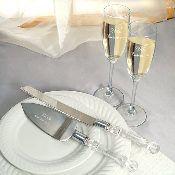 25th Wedding Anniversary Flutes & Cake Server Set