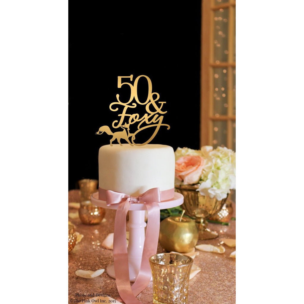 50th Birthday Cake Topper - 50 & Foxy - Happy 50th Cake Topper