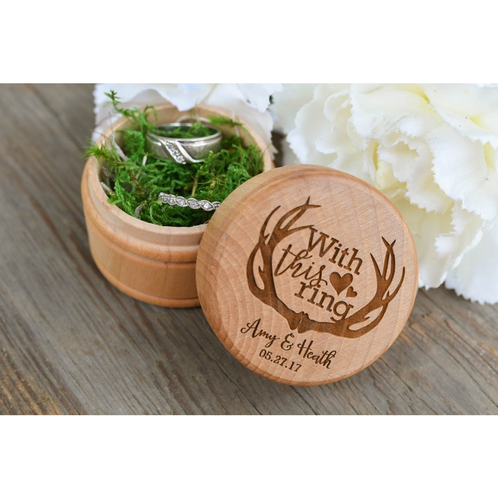With This Ring Deer Antler Engraved Wedding Ring Box - Rustic Wedding Ring Box