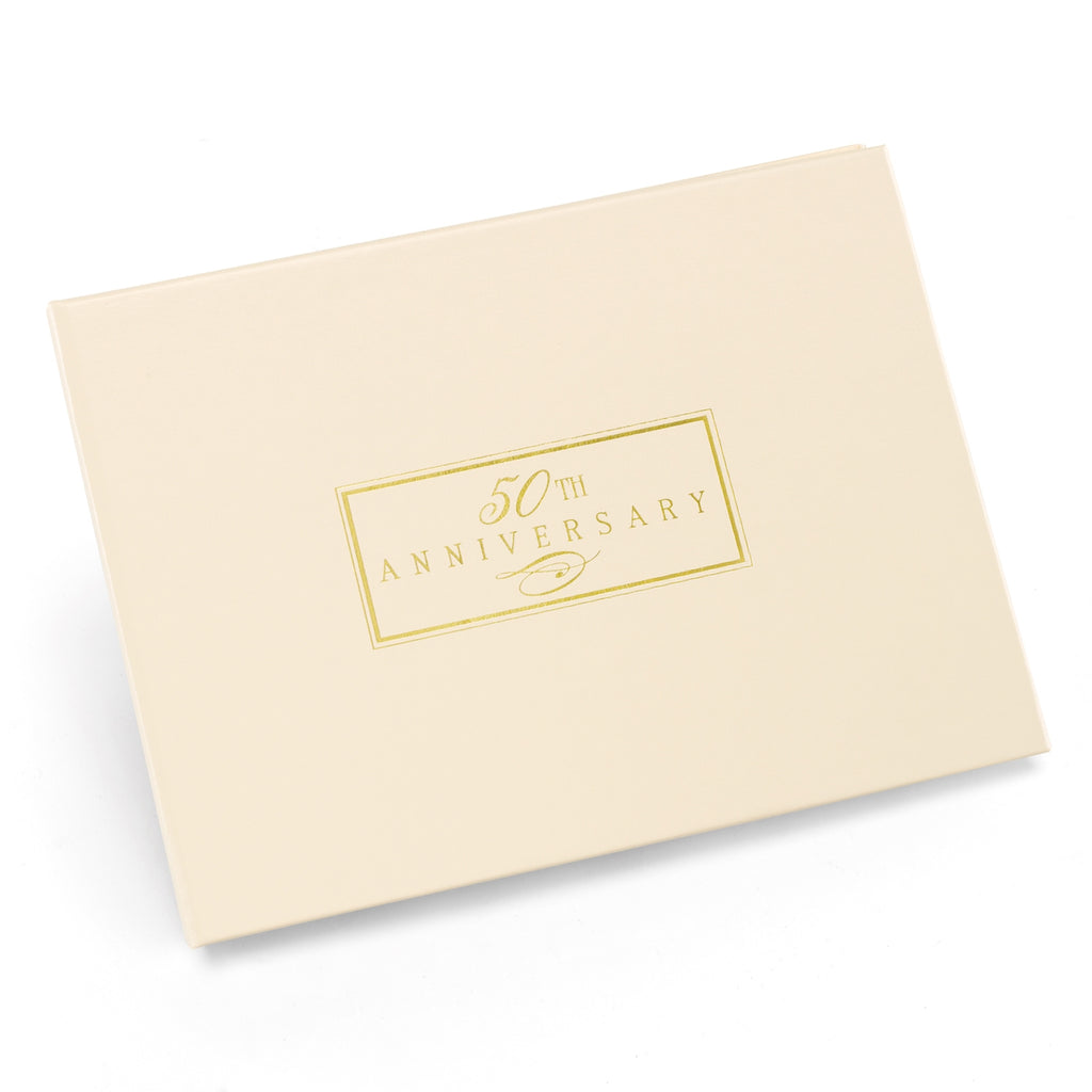 50th Anniversary Small Ivory Guest Book