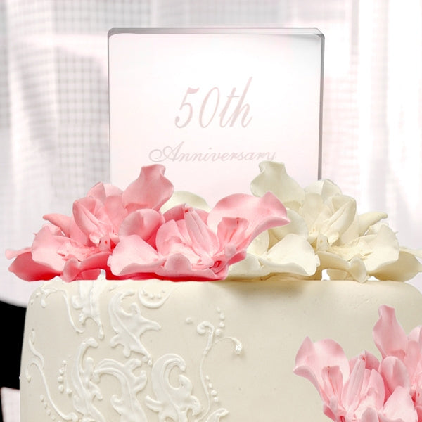 50th Wedding Anniversary Acrylic Cake Topper