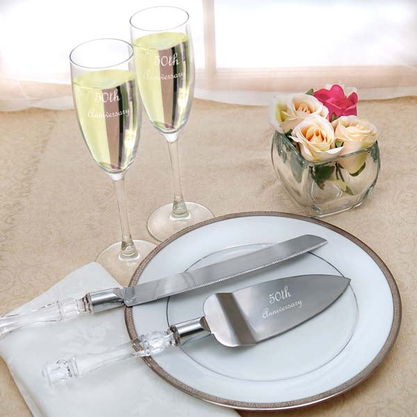 50th Wedding Anniversary Flutes & Cake Server Set
