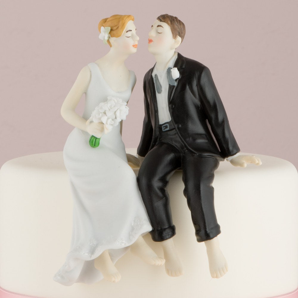 Whimsical Sitting Bride and Groom (Caucasian)