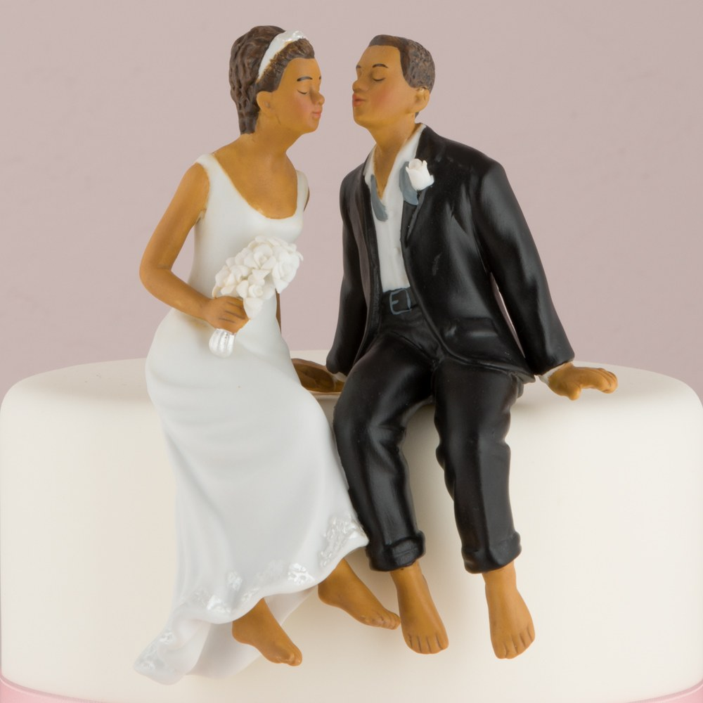 Whimsical Sitting Bride and Groom (African American)