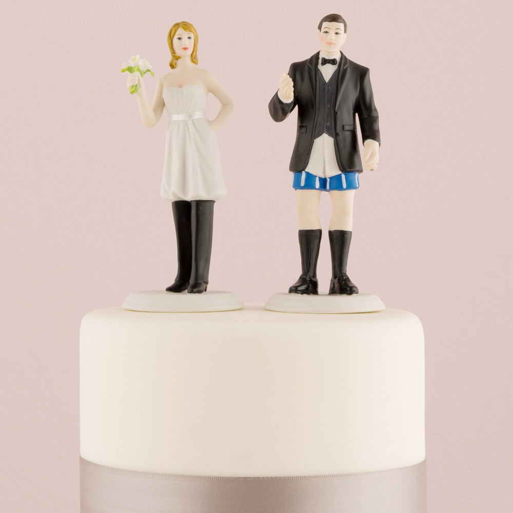 Bride 'In Charge' Wearing Pants and Groom 'Not In Charge' Without Funny Wedding Cake Topper