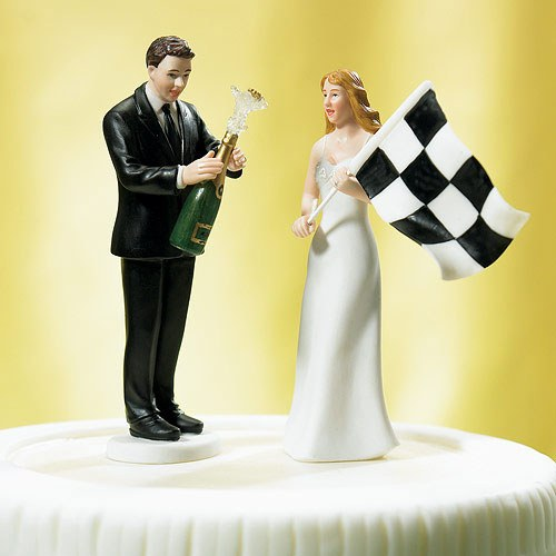 Bride at Finish Line with Victorious Groom Figurine Wedding Cake Topper