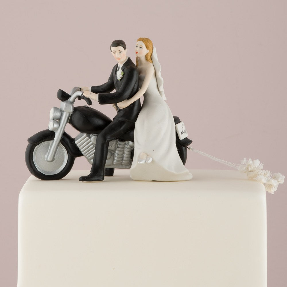 "Motorcycle ""Get-away"" Wedding Cake Topper Figurine"
