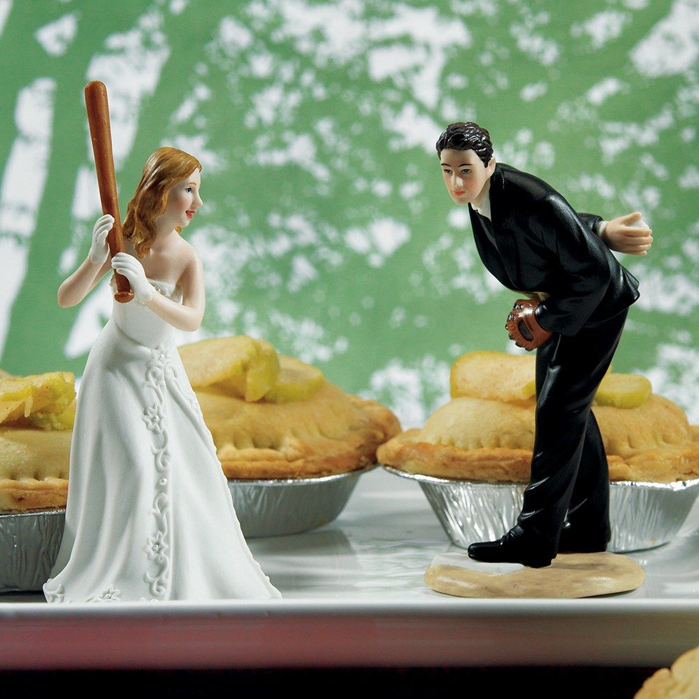 Bride Ready To Hit A Home Run with Groom Pitching Baseball Wedding Cake Topper
