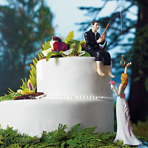 """Hooked on Love"" Bride and Groom Fishing Wedding Figurine"