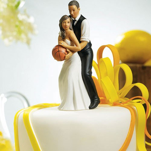 Basketball Dream Team Bride and Groom Couple Figurine - African American