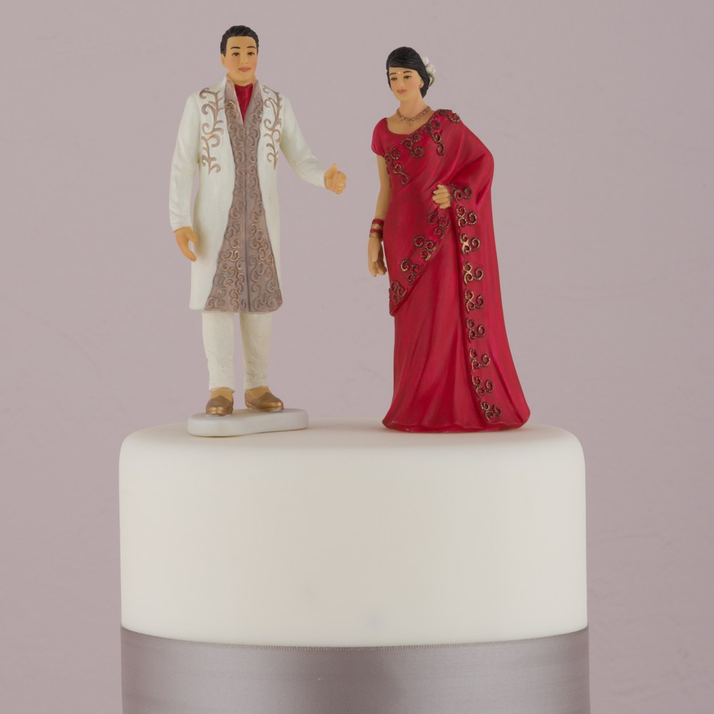Traditional Indian Bride and Groom Figurine Cake Toppers