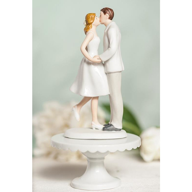 Leg Pop Kissing Couple Wedding Cake Topper