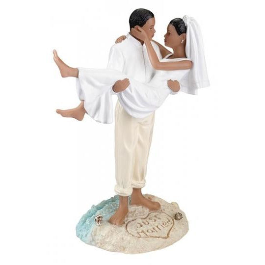 African-American Beach Couple Figurine Cake Topper