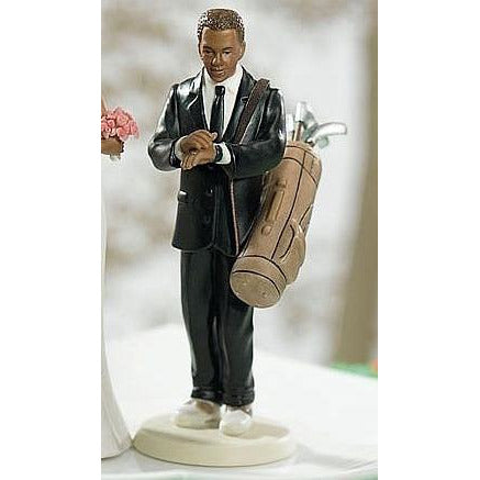 African American Golf Fanatic Groom Mix & Match Cake Topper