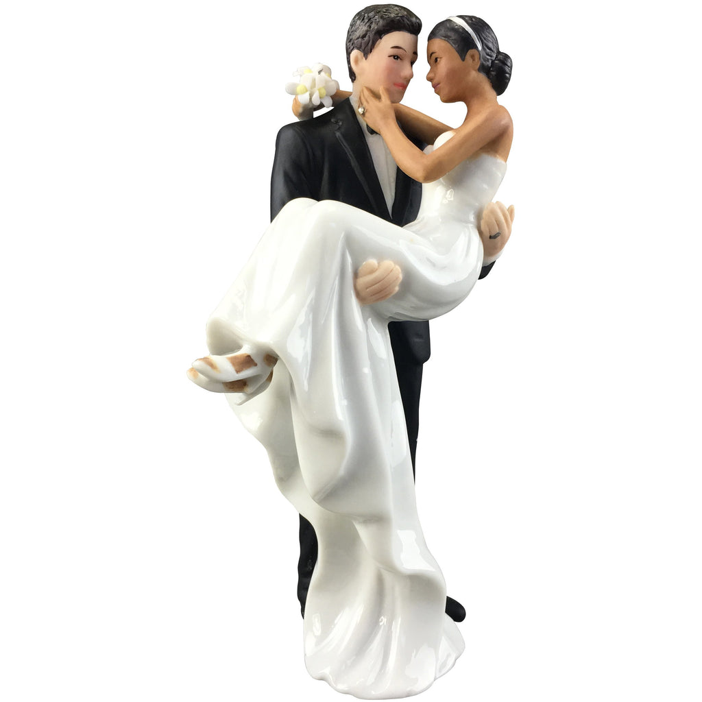 Caucasian Groom Holding African American Bride Interracial Cake Topper Figurine