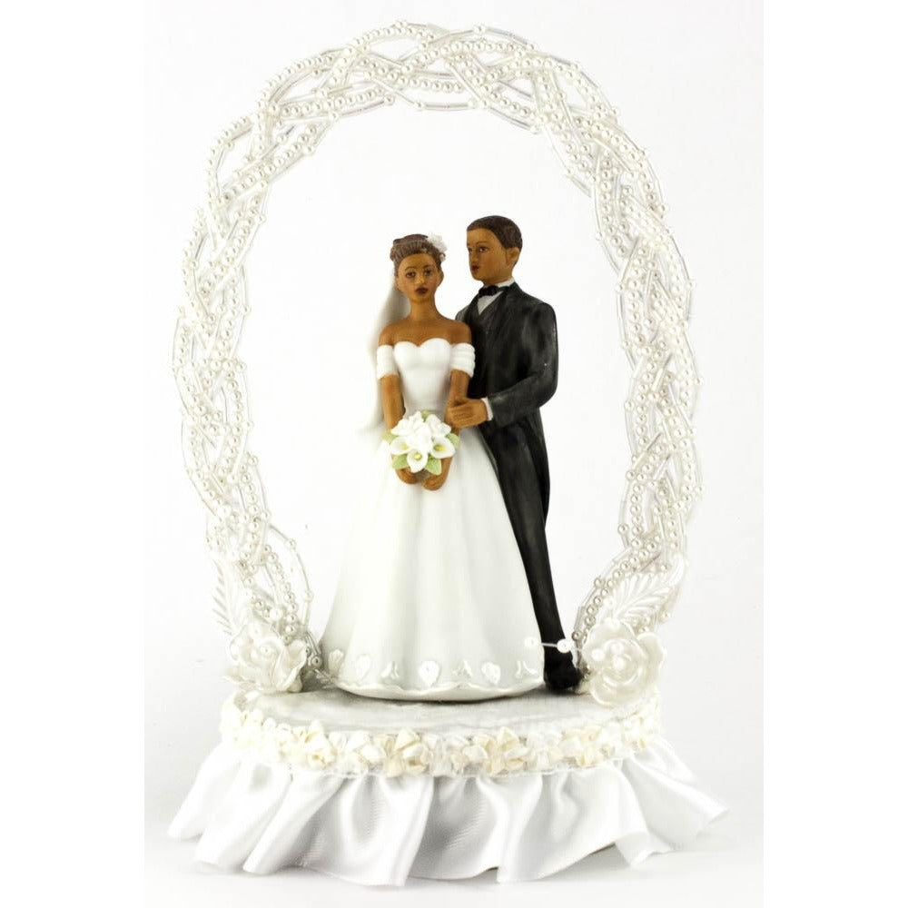 African American Pearl Elegance Arch Bride and Groom Cake Topper